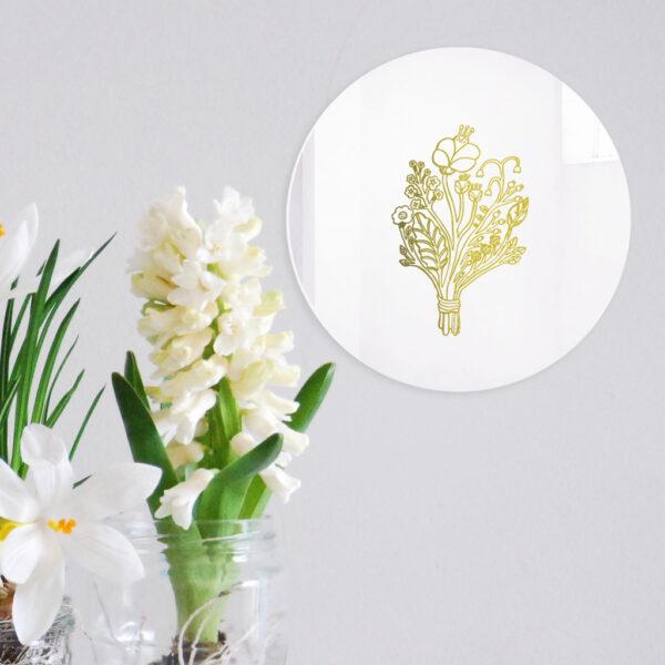 Specchio decorativo Bouquet con illustrazione oro di Monika Forsberg | BiCA-Good Morning Design
