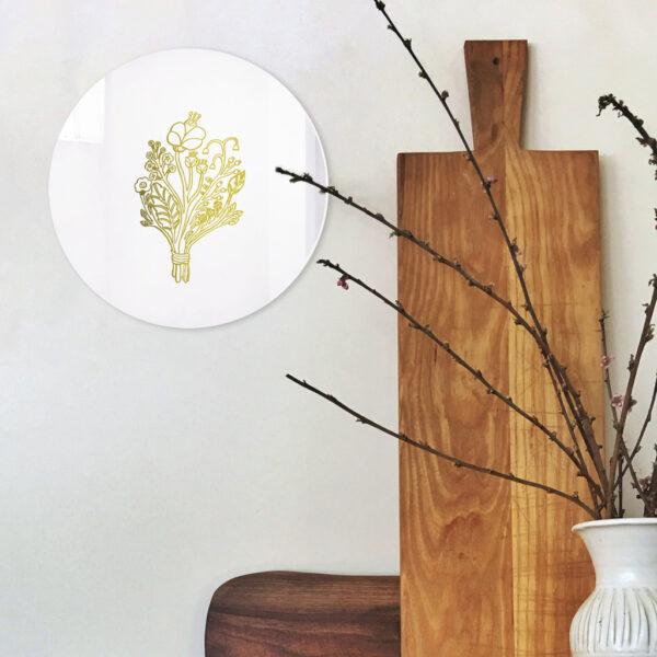 Specchio piccolo Bouquet con illustrazione oro di Monika Forsberg | BiCA-Good Morning Design