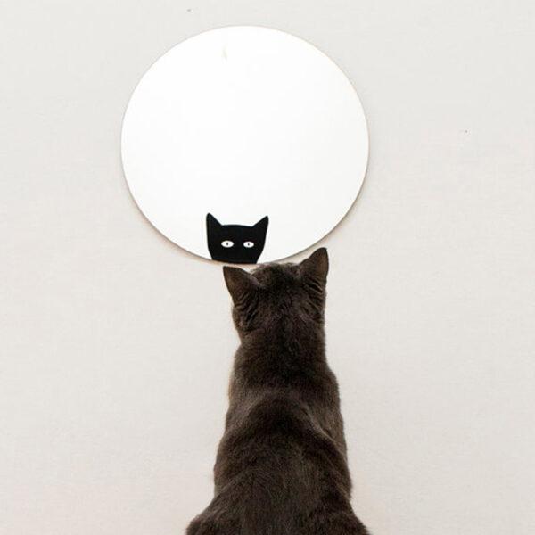 Specchio tondo decorativo con gatto | La chatte | Mirror | Morena Fortino | BiCA - Good Morning Design