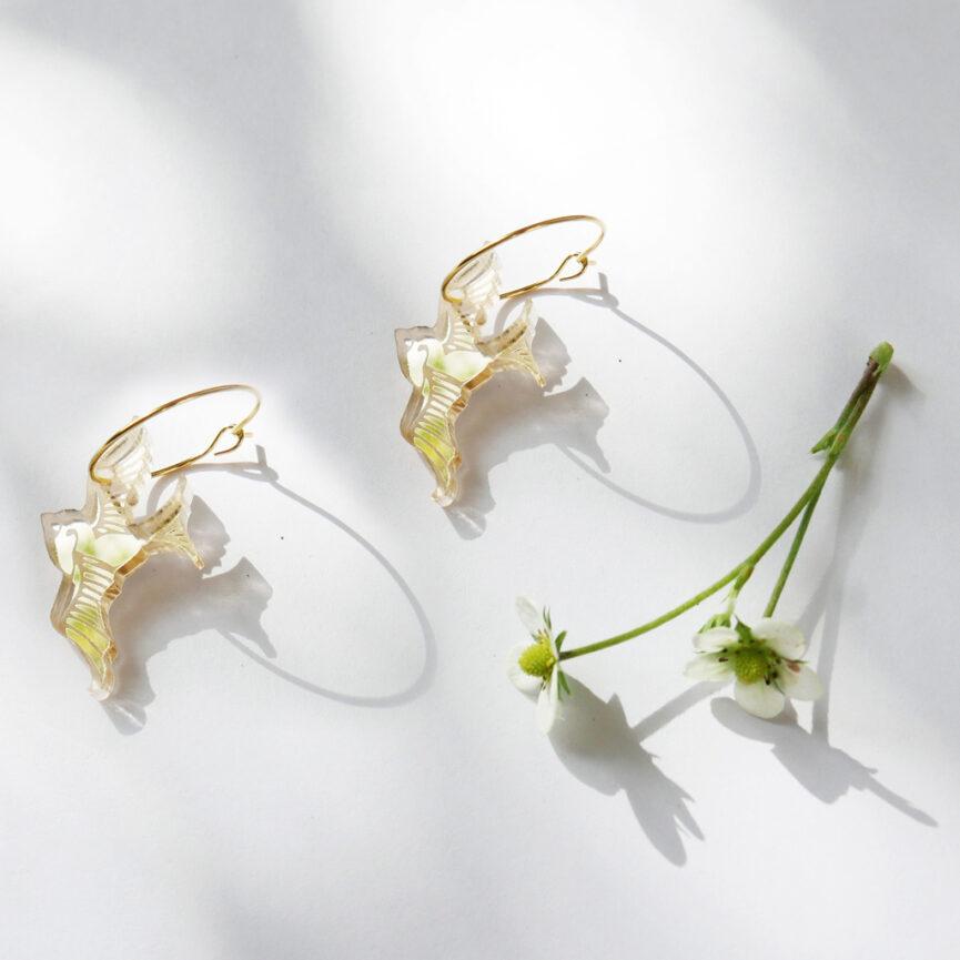 Rondine | Orecchini a cerchio, specchio oro | BiCA-Good Morning Design
