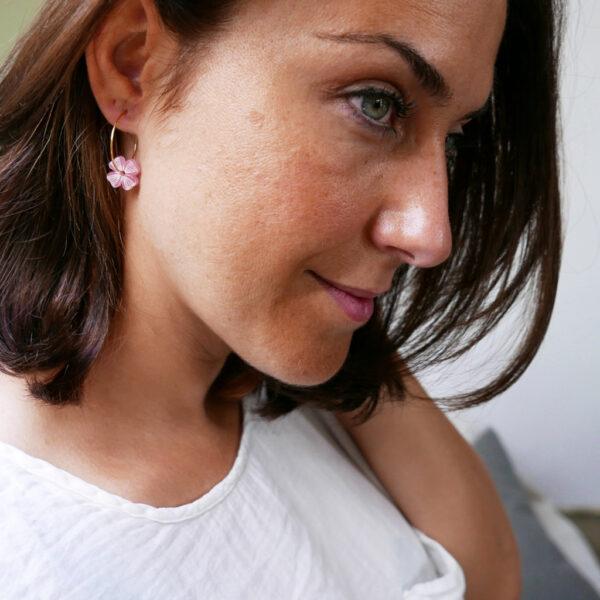 Orecchini quadrifoglio rosa | gioielli a sostegno per la lotta al tumore al seno | BiCA Good Morning Design